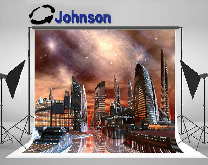 alien super city skyline photography backgrounds Vinyl cloth High quality Computer print party backdrops