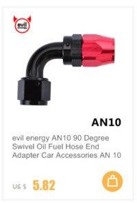 Evil energy AN10 Масляный топливный поворотный шланг анозированный алюминиевый прямой локоть 45 180 градусов шланг Конец масляный топливный многоразовый штуцер черный