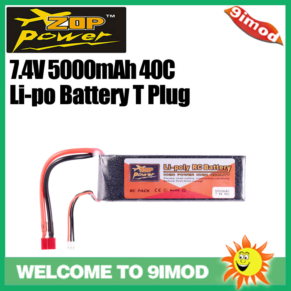 ZOP Power 7.4V <font><b>5000mAh</b></font> 40C <font><b>2S</b></font> <font><b>Lipo</b></font> Battery replacement Battery with T Plug for RC Racing Car Quadcopter Drone Boat image