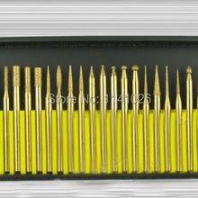30 шт. 3 мм титановые Алмазные Заусенцы Набор бит Dremel роторные заусенцы инструмент шлифовальный инструмент Аксессуары электроинструменты Гравировальный Бит