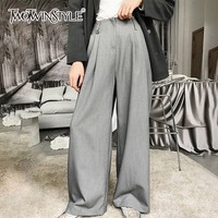 TWOTWINSTYLE Suit Pants Female Zipper Pocket High Waist Gray Wide Leg Trousers For Women 2018 Autumn Casual Fashion Korean Style