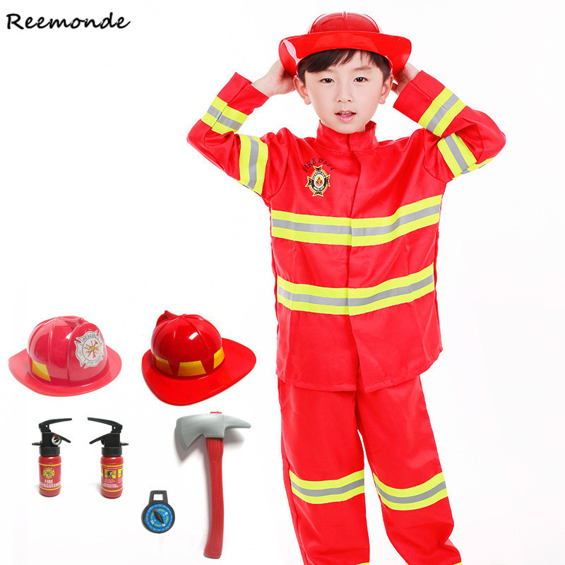 Animation Fireman Sam Cosplay Costumes Toy Firefighter Funny Hat Axe Accessories For Kids Girl Boy Christmas Party Uniforms Set