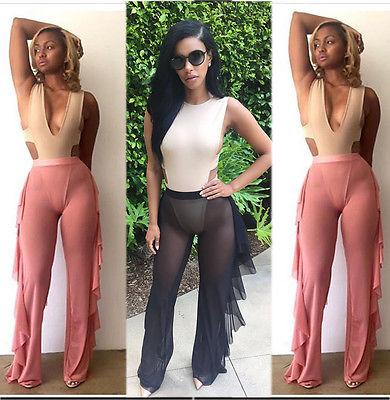 2017 New Women Bathing Mesh See Through Ruffle High Waist Summer Hot Loose Swimwear Long Wide Leg Pant Trousers Beachwear Capris