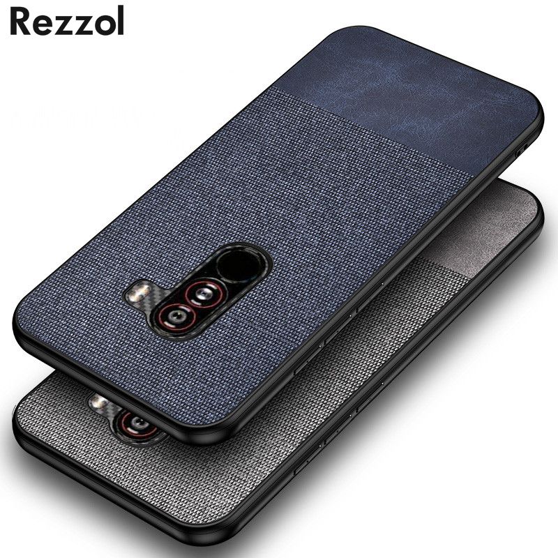 For Xiaomi Pocophone F1 Case Silicone TPU Business Fabric Leather Shockproof Hard Case For Pocophone F1 Phone Case Fundas