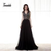 See Through Crystals Black V neck Long Prom Dresses Open Back Sexy Evening Gowns vestidos de formatura