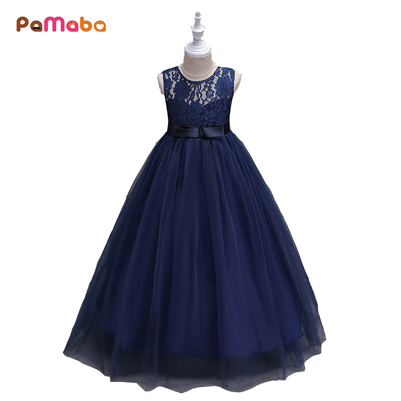 PaMaBa 3-14T Flower Wedding Dress Big Girls Sleeveless Lace Princess Party Dresses Children Kids Tulle Long Ball Gown Clothes jioromy big girls dress 2017 summer fashion flower lace knee high ball gown sleeveless baby children clothes infant party dress