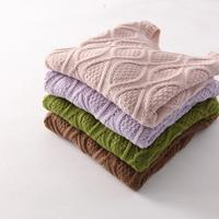 Lady Knitted Long Sleeve O Neck Woolen Pullovers 12 Color Autumn Winter Women Cotton Elastic Twist