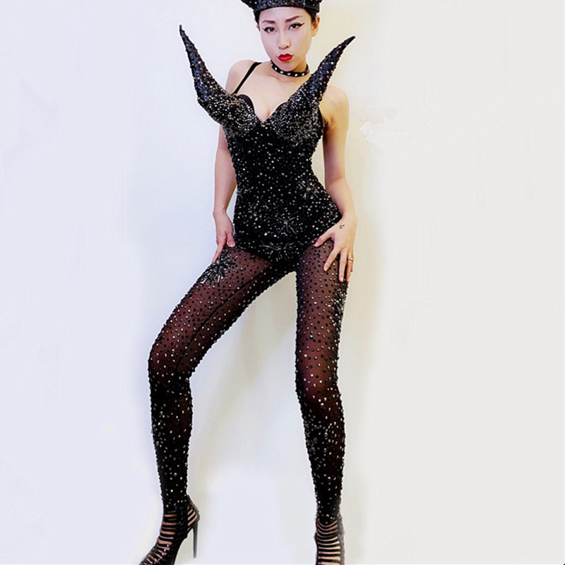 Sparkly Black Rhinestones See-through Mesh Jumpsuit Crystals Leotard Rompers Nightclub Bar Party Catwalk DJ Performance Costume