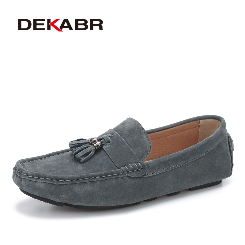 DEKABR Suede Leather Men Loafers Moccasins Designer Men Casual Shoes High Quality Breathable Flats For Men Boat Shoes Size 38-44 branded men s penny loafes casual men s full grain leather emboss crocodile boat shoes slip on breathable moccasin driving shoes