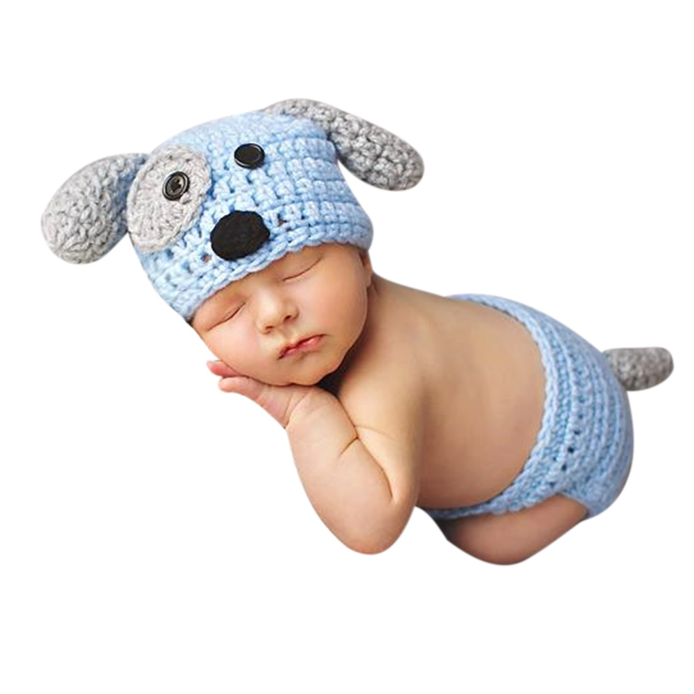 2 Stücke Neugeborenes Baby-nette Häkelarbeitknit Briefs + Hund Form Hut Foto Requisiten Outfits Diy Foto Fotografie Prop Reine WeißE