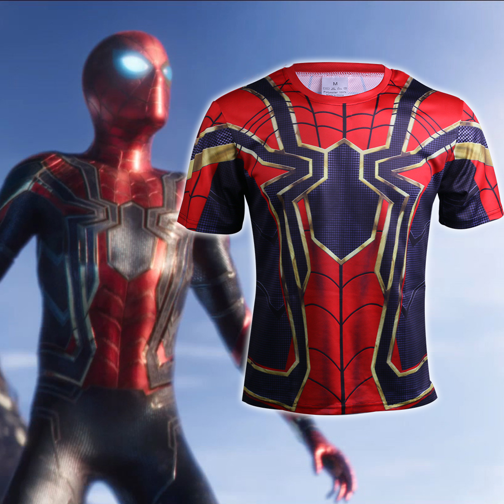 2018 Avengers Infinity War Spidermam T-Shirts Short Sleeve Cosplay Costume Spiderman Superhero 3D Sports Halloween Party