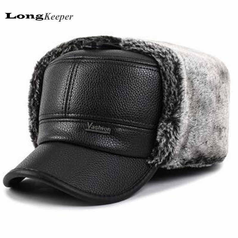 LongKeeper Men's Winter Hat Caps Warm Earmuffs Fur Thicken Baseball Cap Flat Top Dad Hats Balaclava Style Black Gray OT15 aetrue knitted hat winter beanie men women caps warm baggy bonnet mask wool blalaclava skullies beanies winter hats for men hat