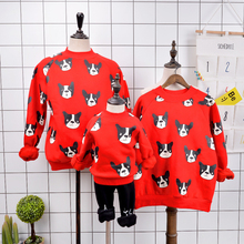 Family look winter sweater warm hoodies mother and daughter clothes cartoon dog family matching clothes mommy and me clothes