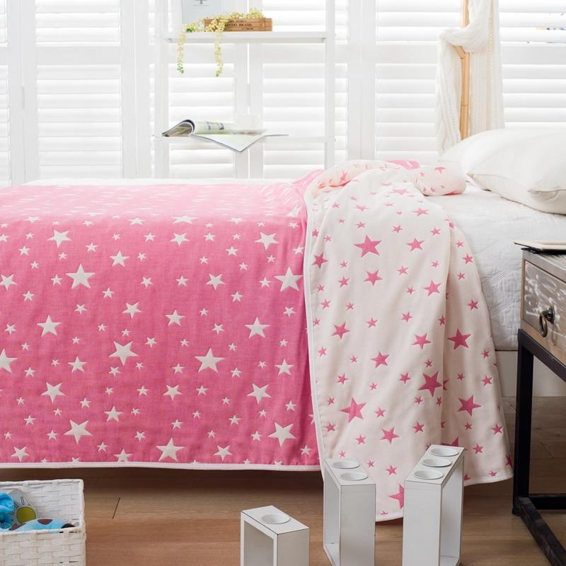 100% Cotton Yarn Blanket 150*200cm 180*220 Little Stars Throw Blanket Adults or Kids Spring Summer Bedspread Super Soft Textiles new 2017 throw blanket 1piece 150 200cm 100