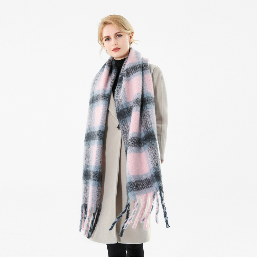 Image 4 - Winfox 2018 New Brand Winter Pink Grey Warm Tartan Plaid Cashmere Blanket Scarves Shawl Foulard Scarf For Womens Ladies-in Women's Scarves from Apparel Accessories