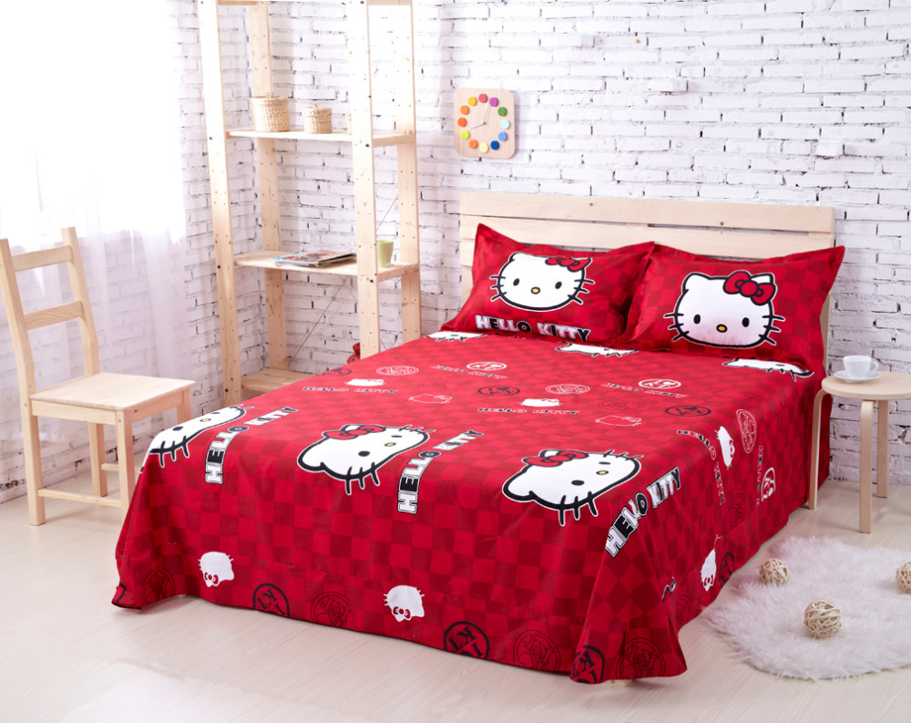 Hello kitty queen bed set - Aliexpress Com Buy 100 Cotton Hello Kitty Queen Size Bedding Comforter Set Anime Bed Sheets Linens Designer Brand Bedding Sets Girls Bedclothes From