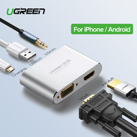 Ugreen HDMI VGA Adapter for iPhone iPad TV Lightning USB Audio Video HDMI Converter for iPhone to HDMI Adapter Lightning to HDMI