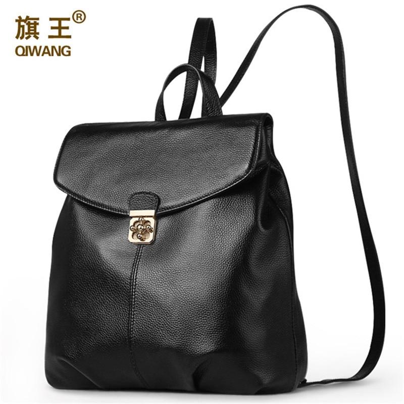 QIWANG Brand Genuine Leather Women Backpack Soft Real Leather Backpack Summer School Bag Female Backpacks With Turn Lock Design