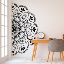 Half Mandala Headboard Wall Decal Zen Decor Lotus Flower Vinyl Indian Yoga Sticker Boho Bohemian MT38