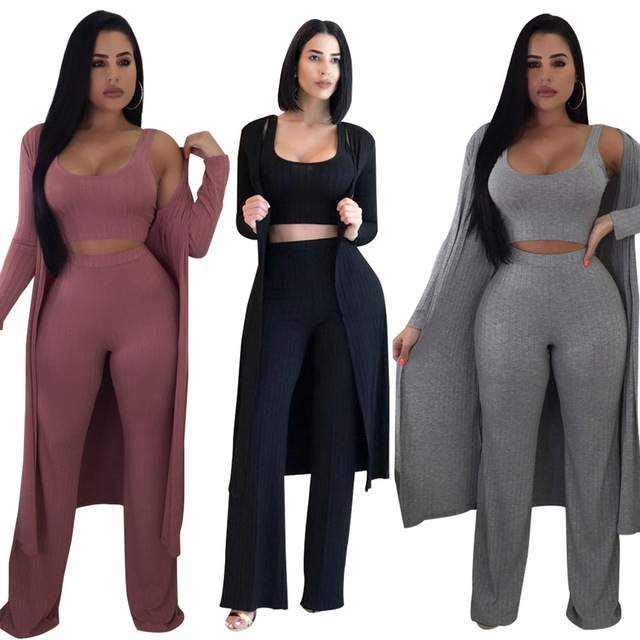 Three Piece Set Tracksuit Women Clothes 2018 New Autumn Fashion Fall Elasti City Set Clothes Knee-length Elastic Waist Full Leng