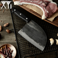 XYj Full Tang Butcher Knife Chef Kitchen Knives Handmade Forged High Carbon Clad Steel Cleaver Filleting Slicing Broad Knife