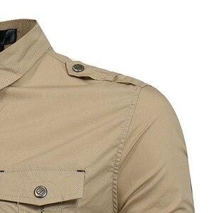 Image 5 - Mens צבא ירוק טקטי כותפת שמלת חולצות ארוך שרוול תחתונית Homme 2018 מותג כותנה לנשימה Slim ספארי סגנון חולצה גברים