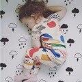 Free Shipping 2017 Children Fashion Summer Cotton Pajamas Set Baby Girls Hand Print Pajamas Kids Short  T-shirt +Pants 2PCS Set
