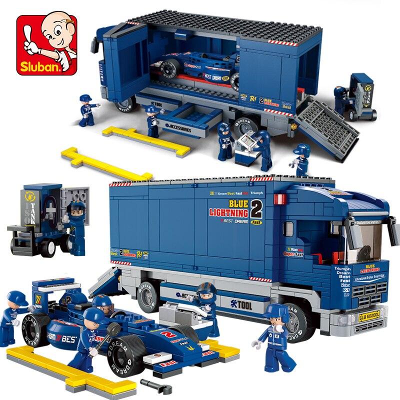 Sluban B0357 Racing Car Transporter Figures 641pcs Educational Building Blocks Bricks DIY Kids font b Toys