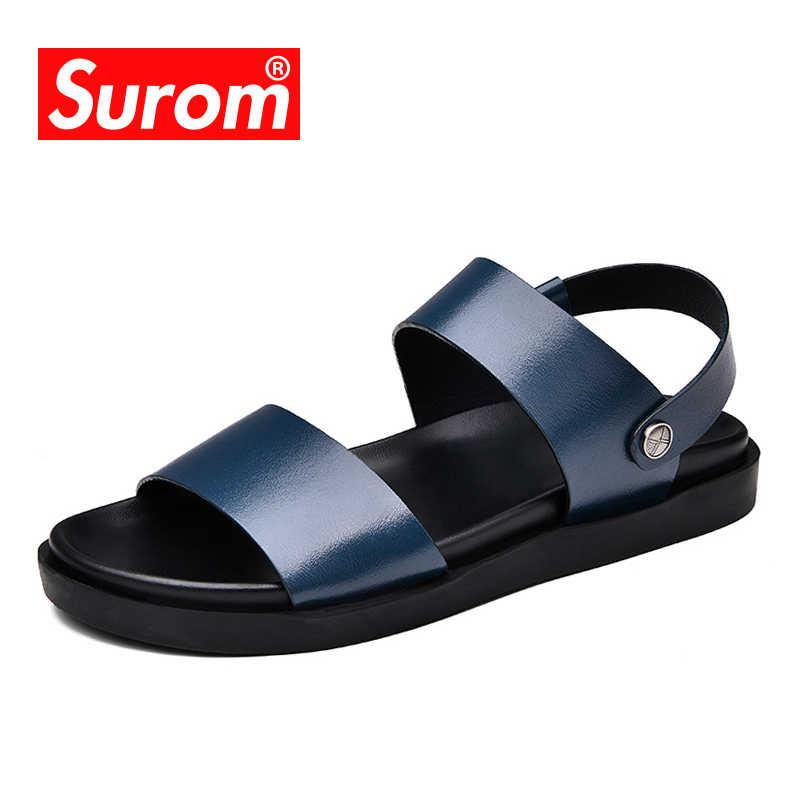 SUROM/2018 г. летняя повседневная обувь новые мужские сандалии простой дизайн открытая домашняя обувь для мужчин Уличная обувь пляжные шлепанцы