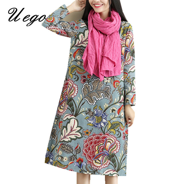 2021 Fashion Thicken Fleece Warn Winter Dress Print Floral Cotton Linen Vintage Spring Dress Women Casual Midi Dress Plus Size 2