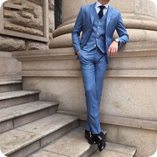 Custom Made Blue Business Men Suits Prom Wear Wedding Groom Wear Tuxedos 3 Pieces (Jacket+Pants+Vest) Bridegroom Suits Best Man blue wedding groom tuxedos for man ceremony prom suit 3 piece smoking business party men suits custom made jacket vest pant