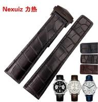 Крокодил Ремешки для наручных часов люксовый бренд Аксессуары для часов straps19mm 20 мм 21 мм 22 мм серебристый, черный из нержавеющей стали застеж