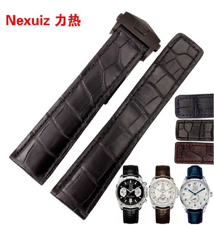 Crocodile Watchbands luxury brand Watches Accessories straps19mm 20mm 21mm 22mm Silver Black Stainless steel deployment Clasp crocodile crocodile cr225r black silver