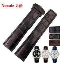 Cocodrilo correas de Reloj Relojes de marca de lujo Accesorios straps19mm 20mm 21mm 22mm Cierre desplegable de acero Inoxidable de Plata Negro