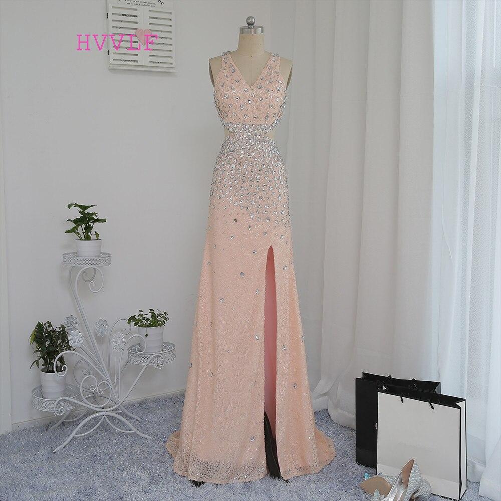 HVVLF dos ouvert 2018 robes de bal a-ligne v-cou Champagne fente Sexy paillettes cristaux robe de bal robes de soirée robe de soirée