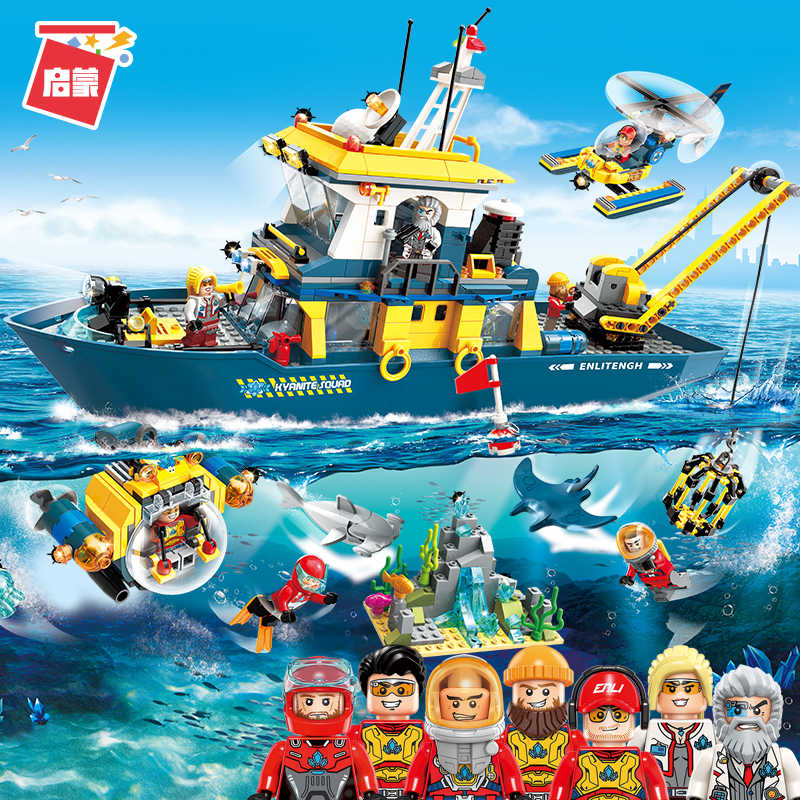 ENLIGHTEN Diving Spar shark Mining Delta command Ship Boat Building Blocks Sets Bricks Model Kid Toy Compatible Legoings
