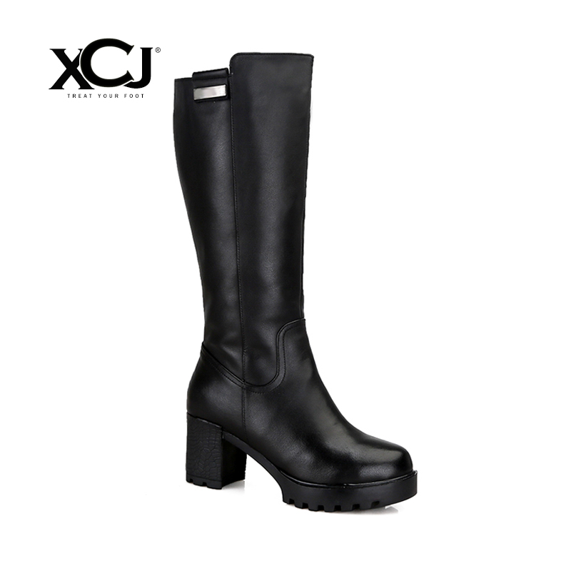 купить Genuine Leather Brand Women Winter Shoes High Quality Knee High Boots Natural Wool Shearling Warmful Women Winter Boots XCJ по цене 5371.8 рублей