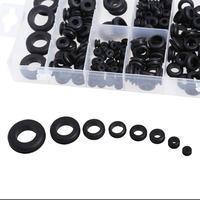180 шт. черные резиновые втулки 8 популярных размеров прокладка для защиты провода кабель надувные латексные штаны печать Ассортимент Набор