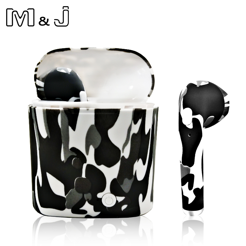 M&J i7s Tws camouflage Wireless Bluetooth Earphone Tws Bluetooth Earphone Stereo Headset Earbuds Charging box for iPhone Samsung