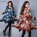 Makuluya invierno vestidos de las mujeres 2016 nuevos vestidos de manga larga gruesa de invierno retro vestidos MÁS del TAMAÑO vestidos XXL LYQ-85-67