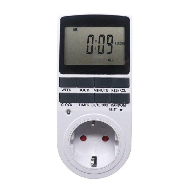 Digital Timer Schalter Buchse EU FR BR UK Stecker Programmierbare 230V 50HZ 7 Tag 12/24 Stunde Timer Schalter buchse für Küche
