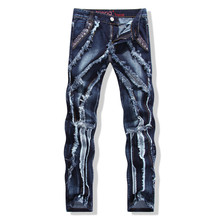 2016 Fashion New  Denim Biker Jeans Punk Style Pants Spliced  Ripped Dark Blue Cotton Feathering Trousers Plus Size# LS594