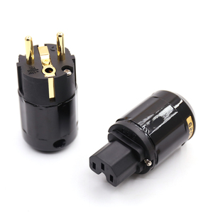 Image 5 - One Pair Hifi Power Plug P029E+C029 High Quality EU Power Connector Gold plated Schuko Power Plug+ IEC plug