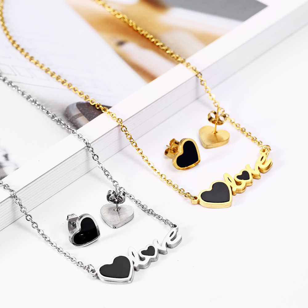 OUFEI Stainless Steel Jewelry Woman Vogue 2019 Charm Love Necklace Earrings set Jewelry Accessories Pendant Necklace Mass Effect