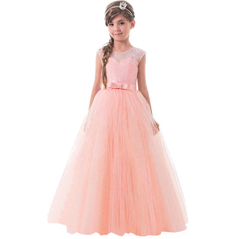 Little Princess Lace Dress For Girl Clothes Girl Children Party Dresses Teenager Evening Wear Prom Wedding Dress 5-14 Year SQ349 summer flower lace kids party dresses for weddings children s princess girl evening prom toddler girl clothes for 4 6 8 10 12 y