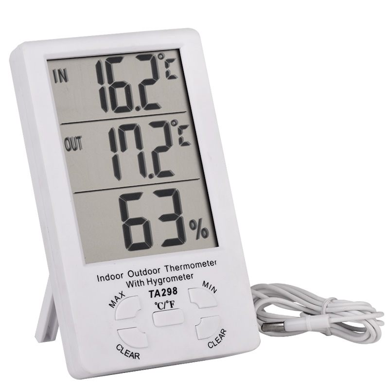 LCD Digital Electronic Indoor Outdoor Desktop Thermometer with Hygrometer Temperature Humidity Meter External Probe Sensor Cable