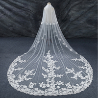 LAN TING BRIDE Two tier Lace Applique Edge Bridal Wedding Wedding Veil Cathedral Veils 53 Lace Lace Tulle