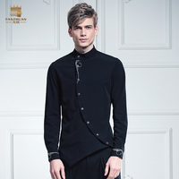 Free Shipping Fashion Casual Male Men S Personality Dress Collar Turned Black Thorn Embroidered 2017 Shirt