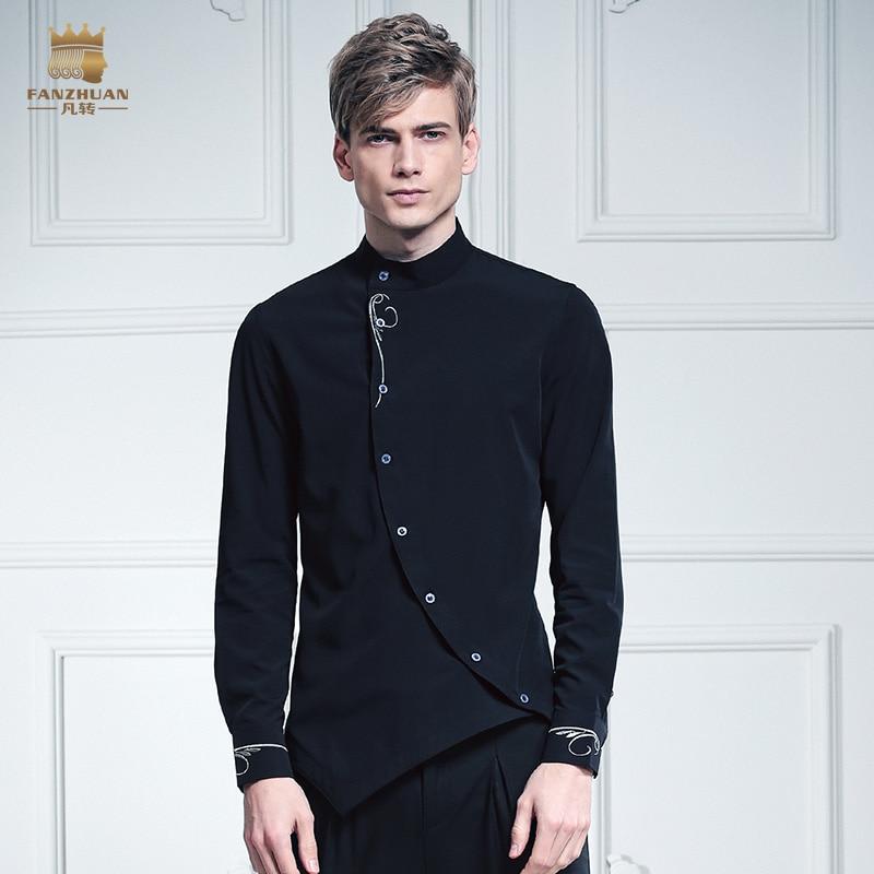 Безкоштовна доставка мода випадковий чоловічий чоловічої особистості FanZhuan комір звернено чорний шип вишитий 612017 сорочка Китай асиметрія