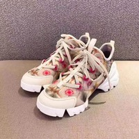 Floral Print Women Vulcanized Shoes 2019 New Hot Dad Shoe Chunky Heel Woman Casual Shoes Breathable Plus Size Sneakers Lace up